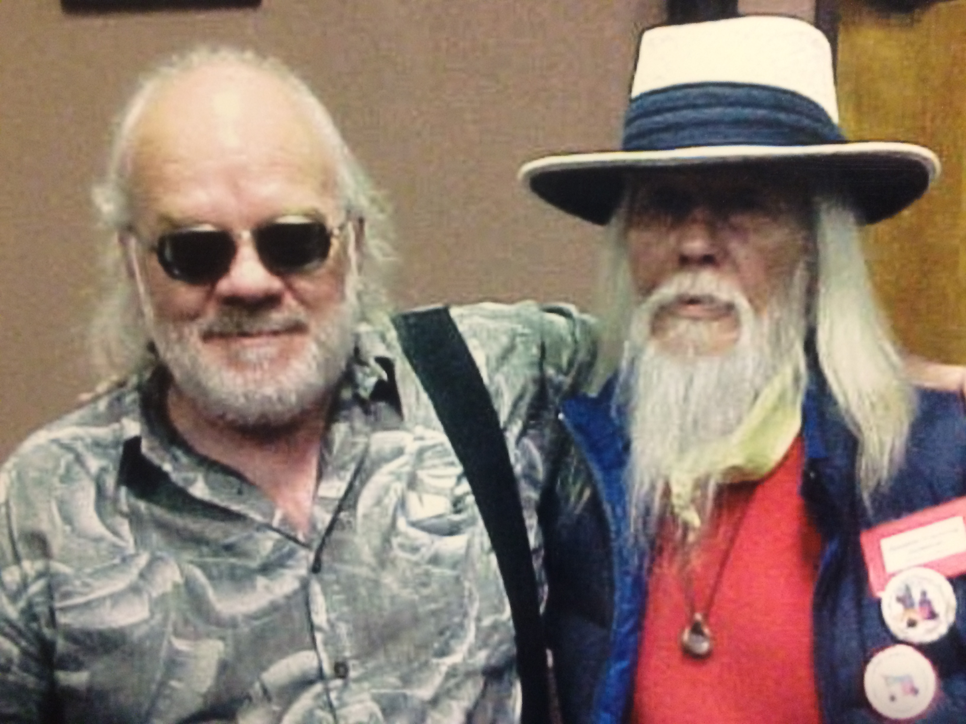 Geprge Clayton Johnson (R) with old friend Brian Kirby. Photo by Paul Hunt