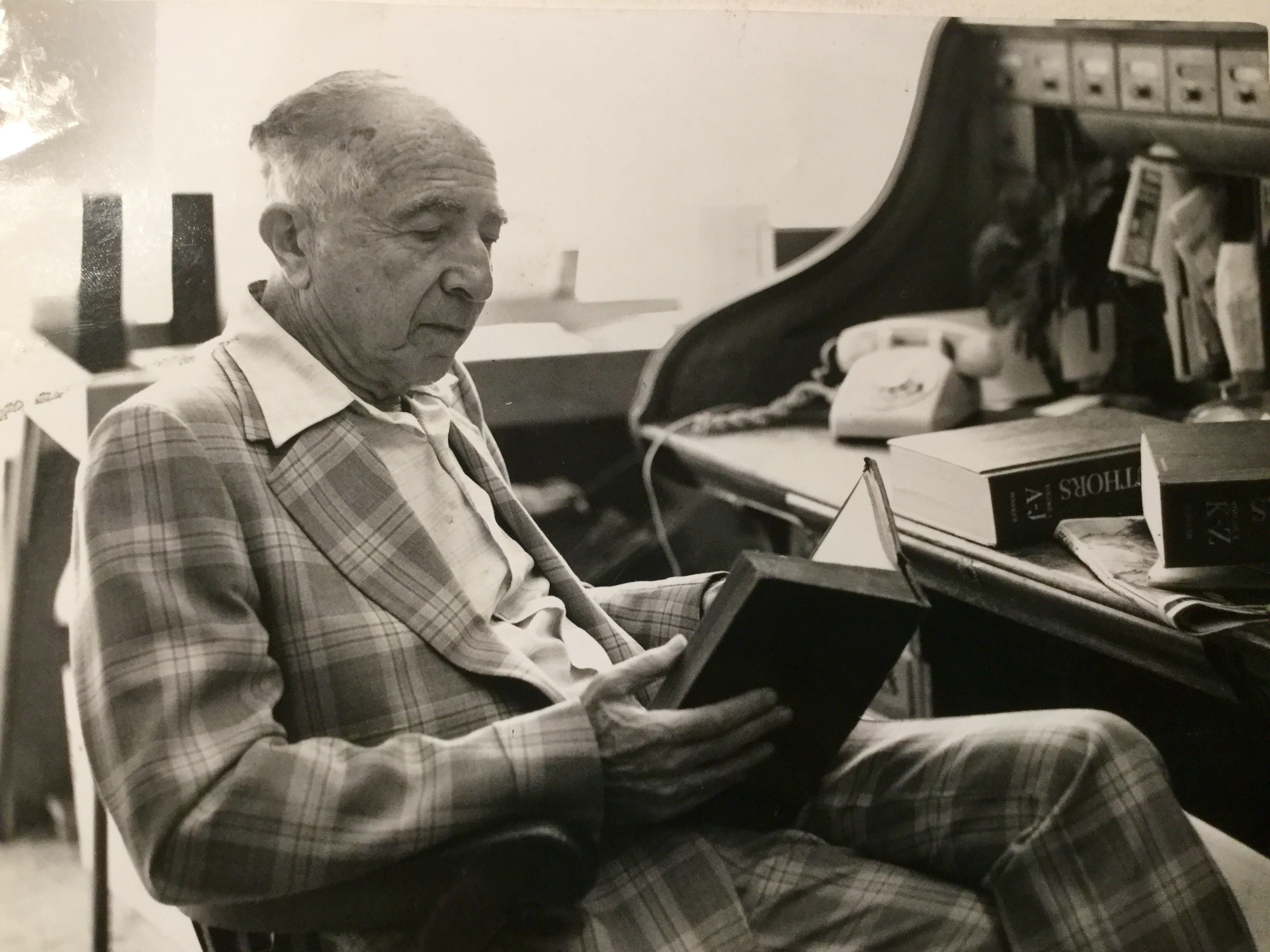 Harry Bierman at his famous roll-top desk
