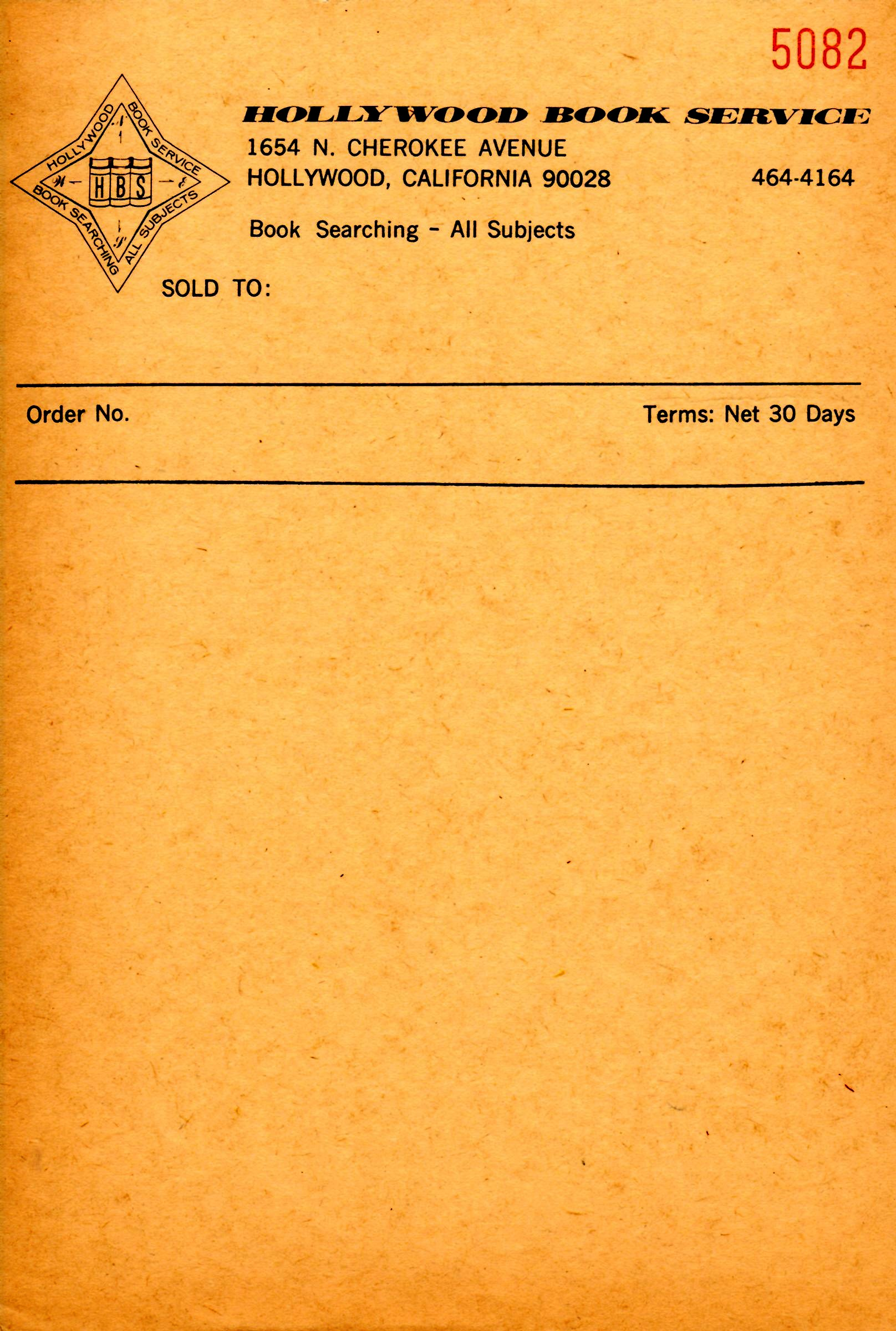 Hollywood Book Service invoice. Collection of Paul Hunt