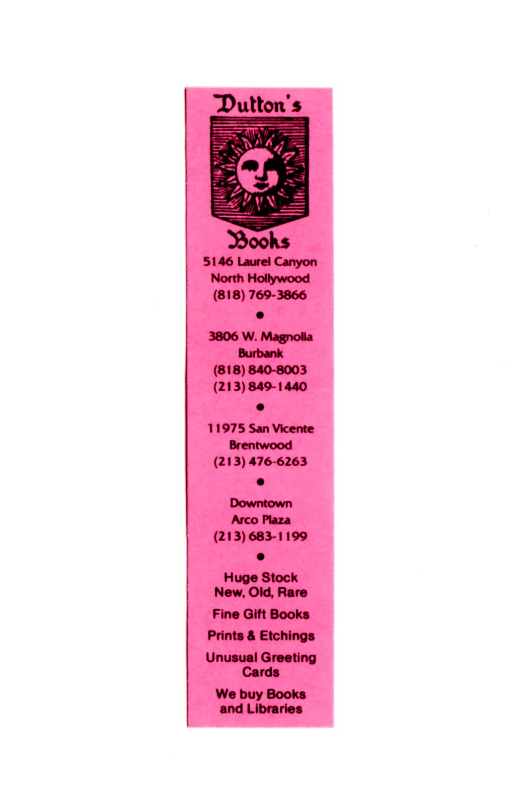 Dutton's Bookmark with all stores listed.