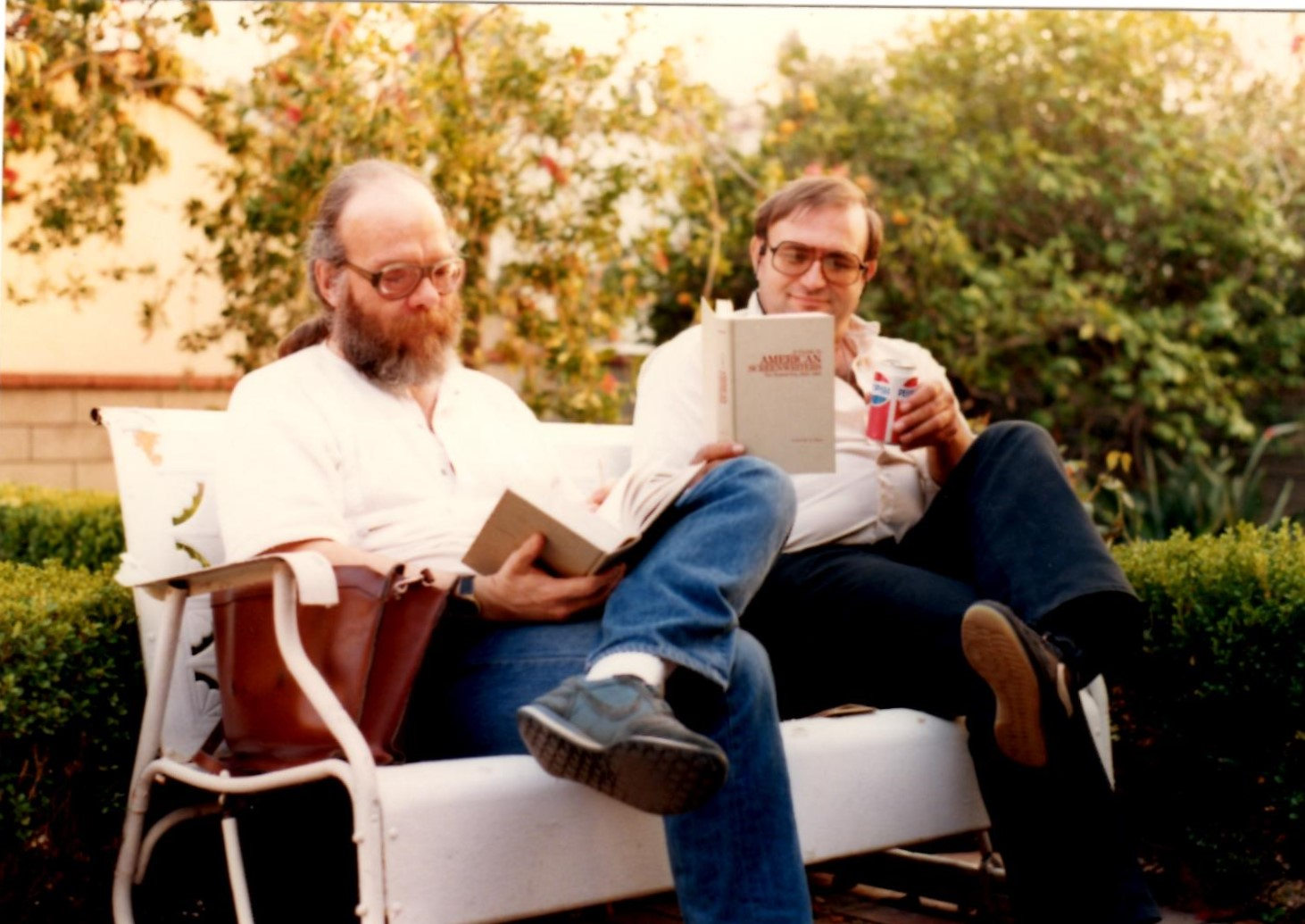 Brian Kirby (l) and Keith Burns, 1985. Burns was also a world class script collector.