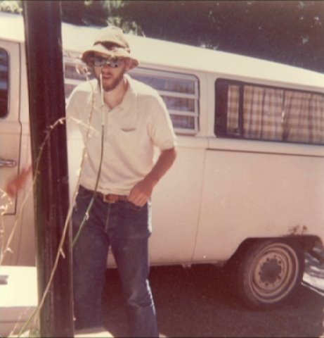 Peter Howard in the 1970s with his VW bookmobile, travelling the USA