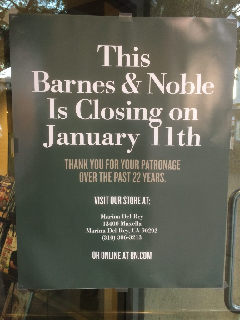 The Barnes and Noble store in Santa Monica was a beautiful bookstore. It  had three levels, elevators, escalators, great lighting, and a stunning  design.